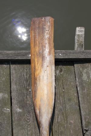 oar: Oar on the pier on lake marine tourist idea background Stock Photo