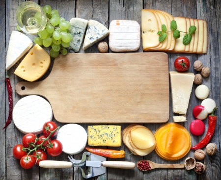different types of cheese: Various types of cheese with empty space background concept