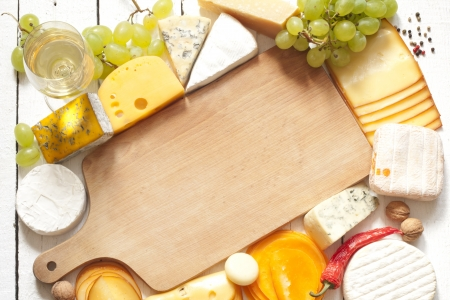kinds: Various types of cheese with empty space background concept