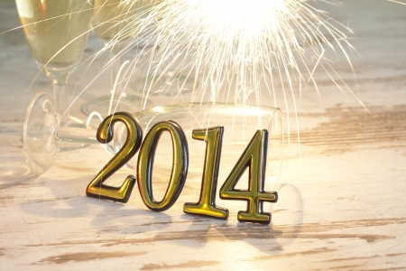 2014 happy new year abstract background sign with sparklers Stock Photo - 21798617