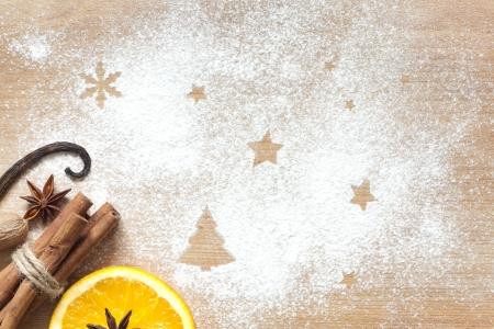 Weihnachten abstrakten Hintergrund Lebensmittel auf Schneidebrett