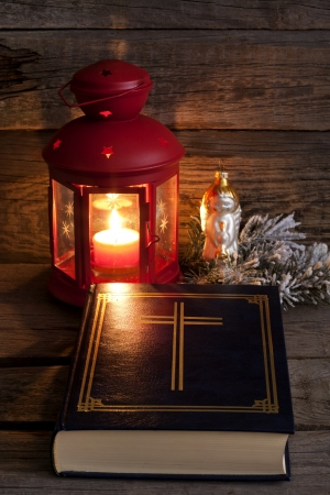 bible christmas: Bible and Christmas time abstract background in night