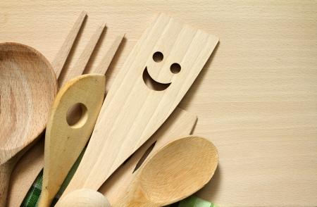 Houten keukengerei op de snijplank voedsel abstracte achtergrond Stockfoto