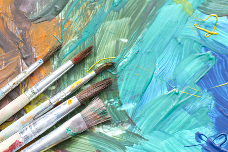Poster paints watercolor with brushes abstract composition