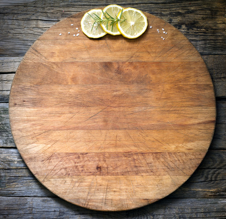 Old vintage cutting board abstract food background photo