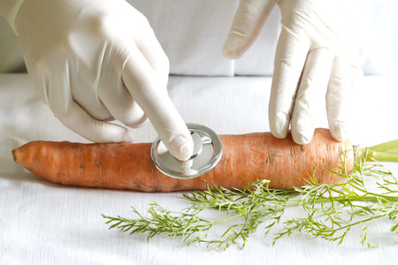 alternative practitioner: Scientist examining unhealthy food fun abstract concept