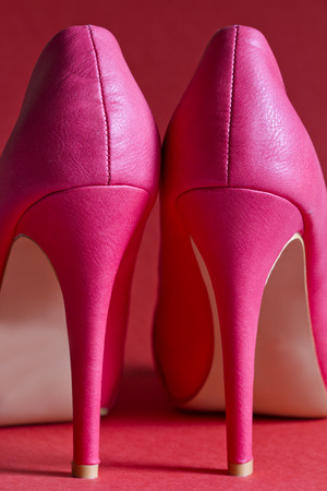 heeled: Closeup of high heel red woman shoes Stock Photo