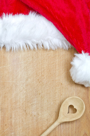 ustensiles de cuisine: Noël alimentaire abstrait avec le Père Noël chapeau