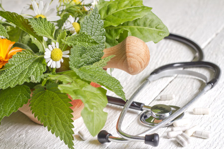 Fresh herb and stethoscope alternative medicine concept 스톡 콘텐츠