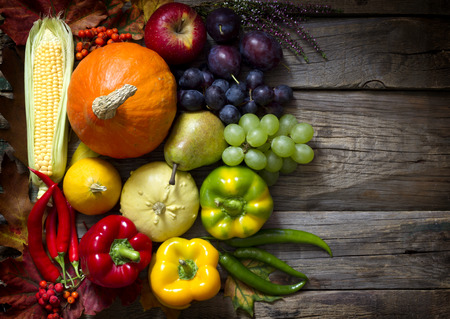 Autumn fruits and vegetables on vintage boards photo