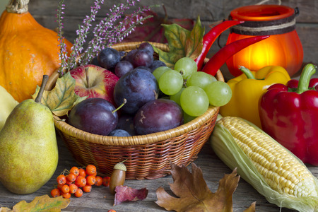 Autumn fruits and vegetables abstract still life photo