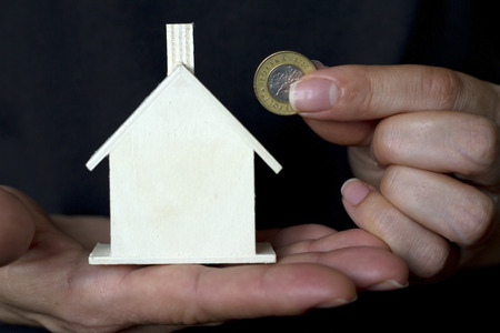 savings problems: Purchase of a new home problem concept in black color Stock Photo