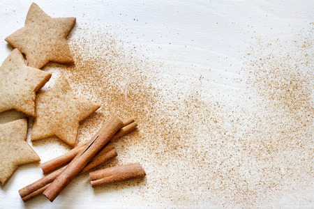 Christmas baking gingerbread cookies food background Stock Photo