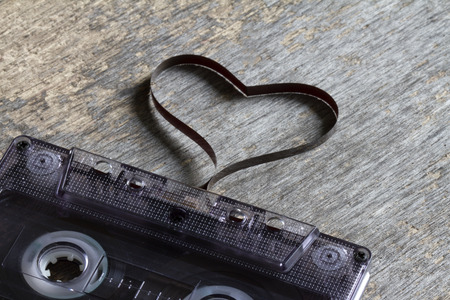 cassette tape: Audio cassette with heart magnetic tape abstract love concept