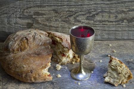 santa cena: El pan y el vino signo de la comunión santa símbolo Foto de archivo
