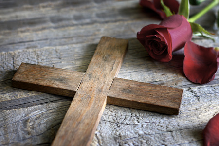 jesus on the cross: Cross and rose religion sign symbol abstract concept Stock Photo