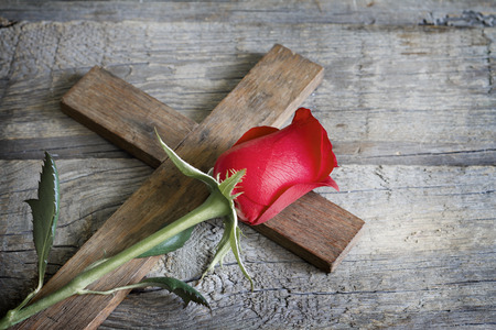 jesus christ crown of thorns: Cross and rose religion sign symbol abstract concept Stock Photo