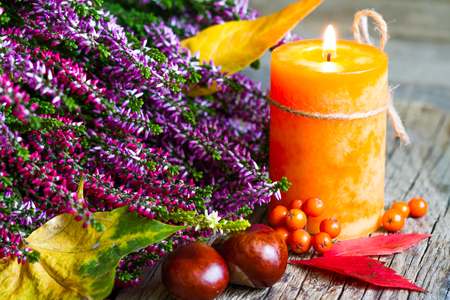 nature backgrounds: Autumn still life with candle on old boards