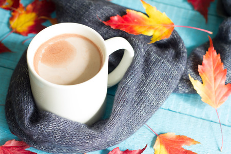 Cup of cocoa with autumn leaves abstract still life