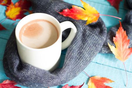 cacao: Copa del cacao con hojas de otoño todavía del extracto vida
