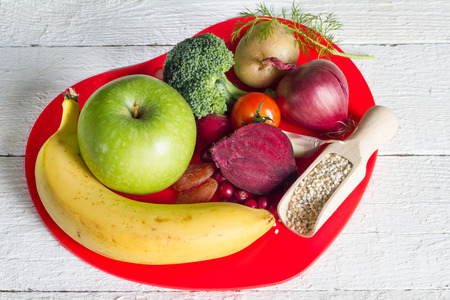 nutrition health: Healthy food in heart sign of healthy lifestyle