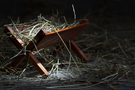 nativity: Manger in the stable abstract christmas symbol