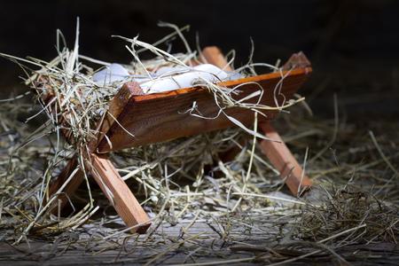 pesebre: Pesebre en el s�mbolo de la Navidad abstracta estable Foto de archivo