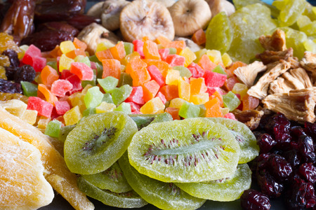 candied: Candied fruits background texture mixed assortment Stock Photo