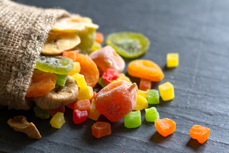 Candied dried mixed assortment of exotic fruits in the bag