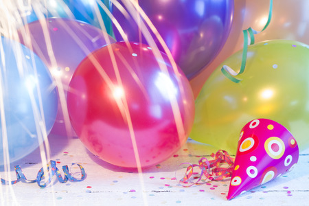 children party: New year party balloons background texture abstract concept Stock Photo