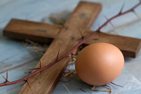 easter cross: Cross thorn and easter egg abstract symbols