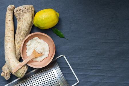 horseradish: Raw horseradish and spices abstract still life