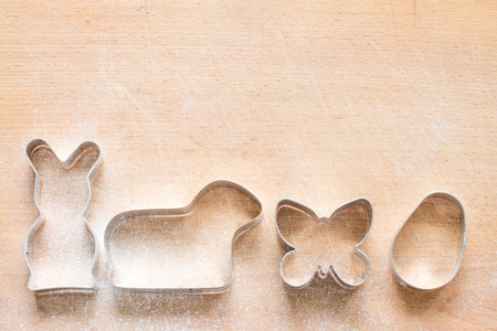 pastry cutters: Easter pastry cutters baking food abstract background with bunny