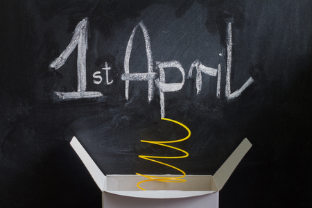 prank: April Fools Day Abstract box with surprise and joke