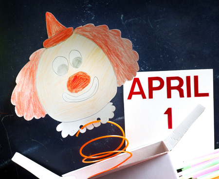 April fools day symbol concept with clown