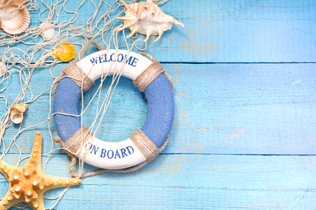 Beach holiday marine travel background concept on blue boards