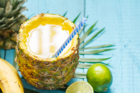 squeezed: Exotic freshly squeezed juice with pineapple and lime Stock Photo