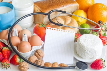 food allergies: Allergy food and stethoscope abstract concept Stock Photo