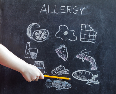 food research: Allergy food and beverages on blackboard concept