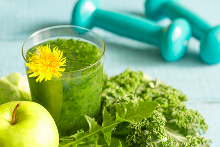 spring green: Green smoothie with dandelion healthy lifestyle concept