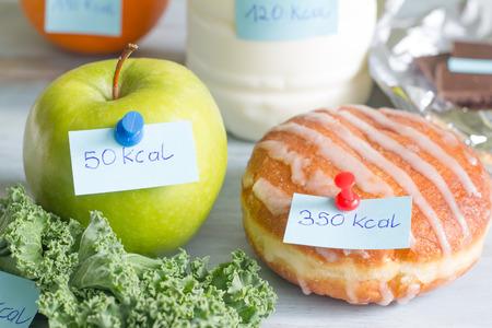Kalorienzählen und Lebensmittel mit Etiketten Konzept