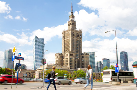 culture: Warsaw street with Palace of Culture and Science