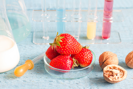 food research: Food allergy and research in the lab Stock Photo