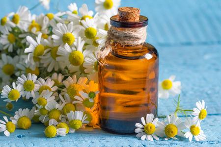 Olio di camomilla con fiori freschi primo piano