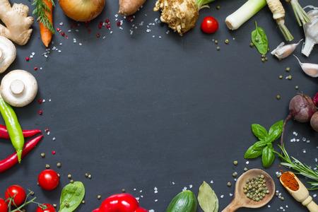 kulinarne: Menu food culinary frame concept on black background