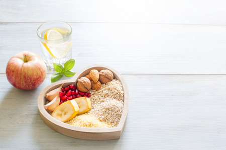 healthy sport: Healthy food in heart and water diet sport lifestyle concept