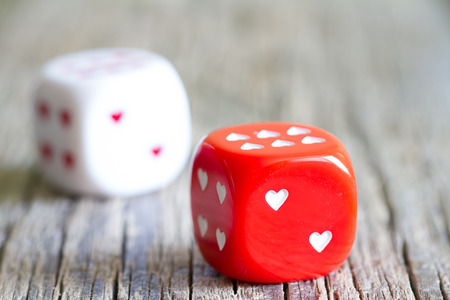 abstract love: Dice love heart Valentines day abstract background concept
