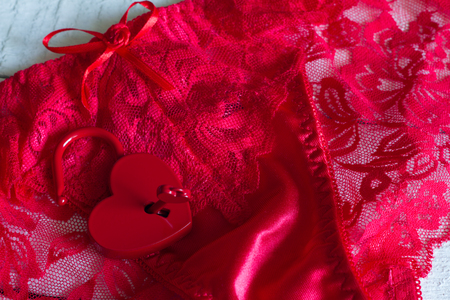 Red womens panties and padlock love valentine concept