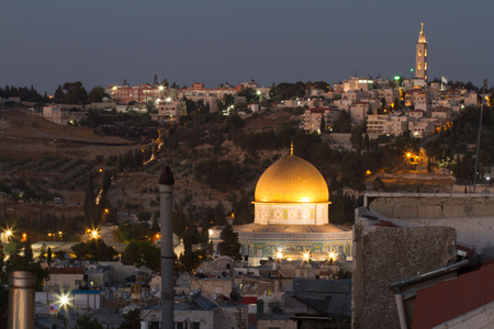 View to Jerusalem old city. Israel in night