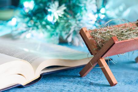 Bijbelkraan en inheemse scène abstract Kerstmis achtergrondconcept
